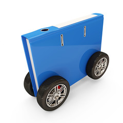 Folder for Documents on Wheels on white background