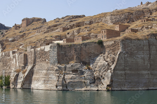Rumkale castle at halfeti of the Birecik Dam Urfa Turkey