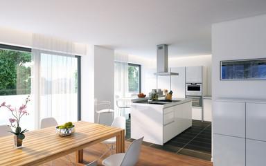 weiße, moderne Küche - luxury white kitchen