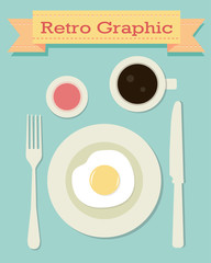 Retro graphic breakfast