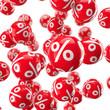 Fallende Kugel mit Prozenten / 3D-Grafik