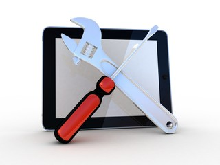Tablet with tools on a white background, 3D