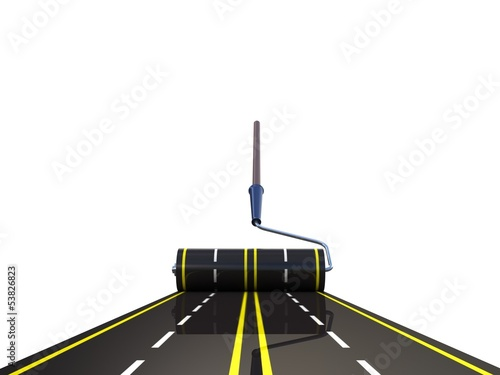 Painted road by roller brush , 3D
