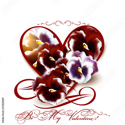 Greeting valentine card with heart and violets flowers