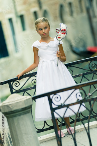 Venice, Italy - Portrait of lovely girl in old town
