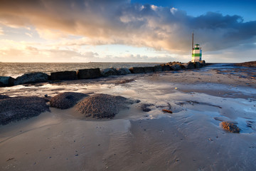 lighthouse on North sea in Ijmuiden