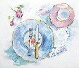 Watercolor table setting