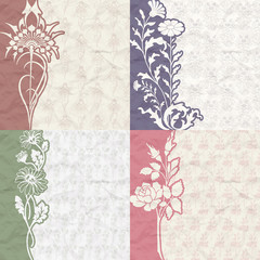 Set of vintage background for the invitation with flowers
