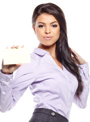 Woman showing blank sign excited, Young casual professional  sho