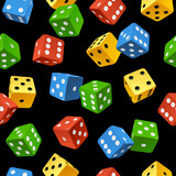 Vector dice seamless pattern isolated on black background