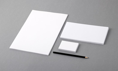Blank basic stationery. Letterhead, business card, envelope