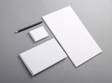 Fototapety Blank basic stationery. Letterhead flat, business card, envelope