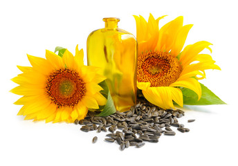 Sunflower oil is with the flowers of sunflower and grain