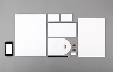 Blank visual identity. Letterhead, business cards, envelopes, CD