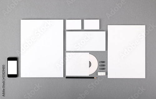 Blank visual identity. Letterhead, business cards, envelopes, CD