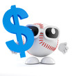Baseball holds dollar symbol