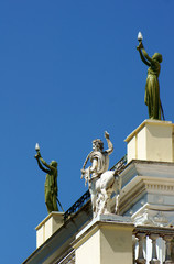 Statues on the front of the palace Achilleon, island of Corfu