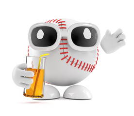 Baseball drinks a juice