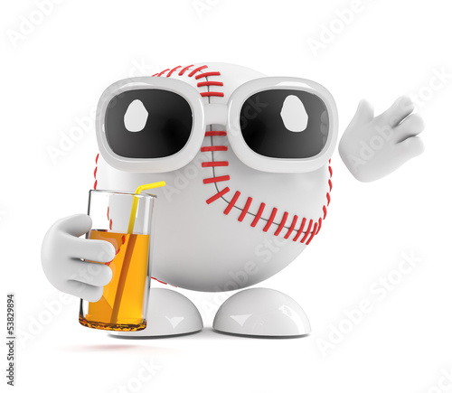Baseball drinks a juice