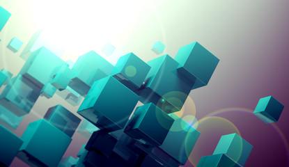 Fondo abstracto con cubos.Ciencia y tecnologia