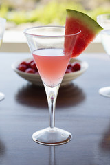 Close-up of a glass of watermelon martini