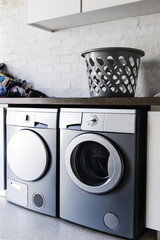 Interiors of a laundry room