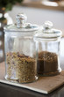 Food in jars at a kitchen counter