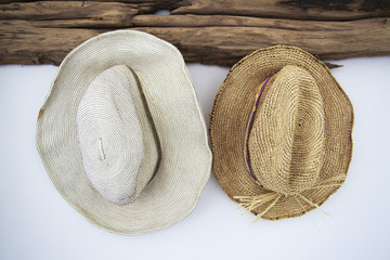 Close-up of two sunhats