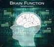 human brain function on technology background, infographics