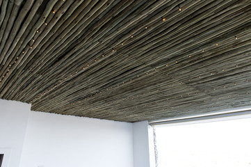 Low angle view of a cane ceiling