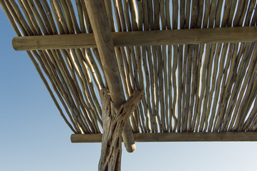 Low angle view of a wicker roof