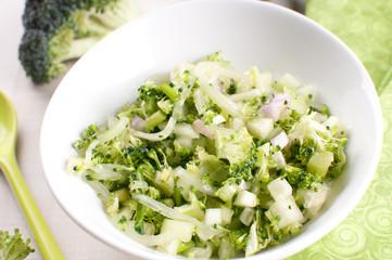 Chopped broccoli and cucumbers salad