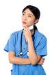 Female surgeon thinking something