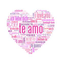 """TE AMO"" (amor te quiero tarjeta rosa corazón nube de palabras)"