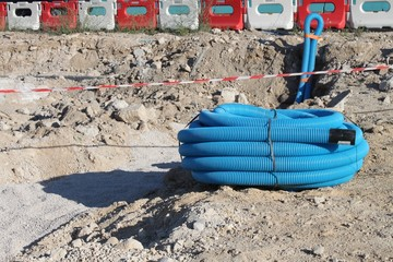 Couronne de gaine ' adduction d'eau potable ' sur un chantier