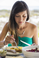 Woman enjoying lunch