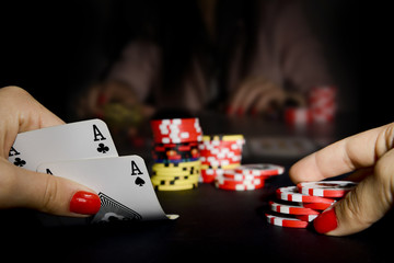 Poker card player gambling in casino