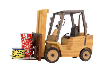 Forklift with gambling chips and cards