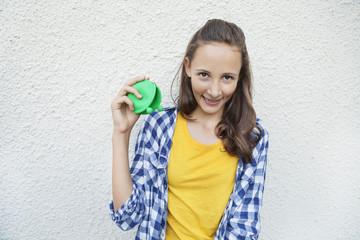 Girl holding an empty purse