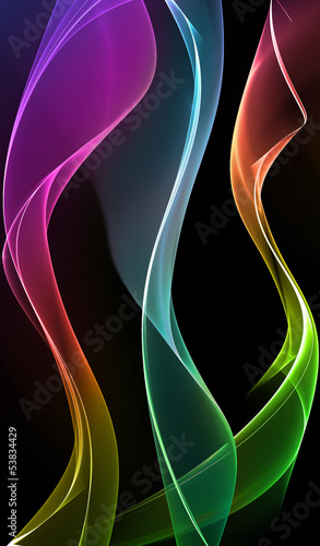 Abstract color waves on black background