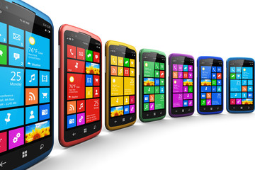 Modern smartphones with touchscreen interface