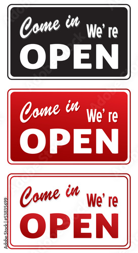 Set of Open signs isolated on white
