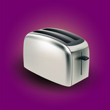 Metal electric toaster - vector illustration