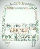 Tag or word cloud Africa related in shape of peace sign