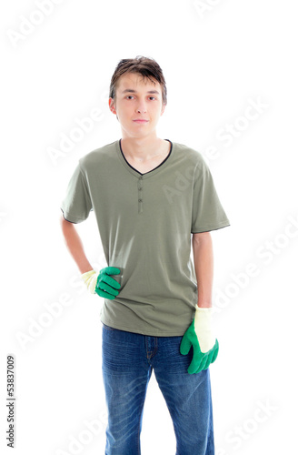Young gardener with gloves