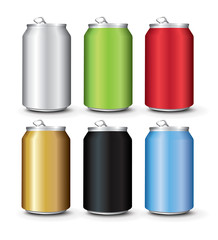 Set Color Aluminum Cans Template