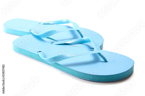blue summer flip flops over white