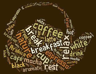 Tag or word cloud coffee drinking related in shape of teapot