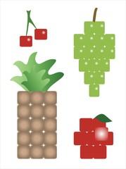 frutas a cuadros