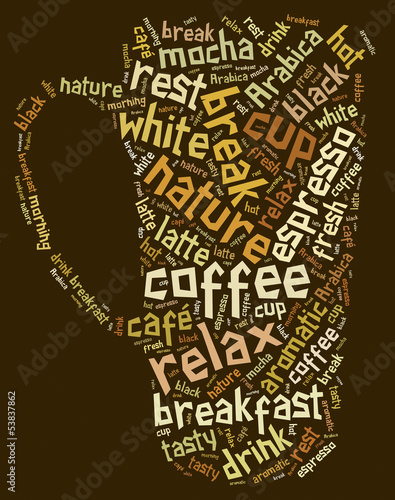 Tag or word cloud coffee drinking related in shape of cup